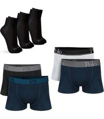 kit com 4 cuecas cotton premium e 3 pares de meias cano médio - polo match masculino - masculino