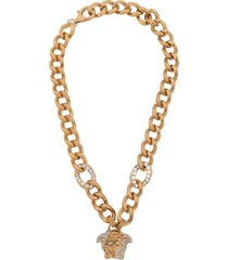 crystal-embellished medusa chain necklace