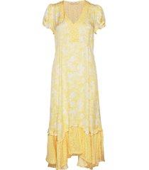 pretty printed dress knälång klänning gul odd molly