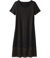 jersey jurk met kant, zwart 36