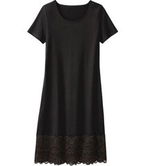 jersey jurk met kant, zwart 44/46