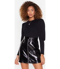 womens crew neck jersey bodysuit with puff sleeves - black