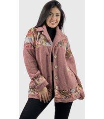 abrigo chiporro  y tela estampada boho chic rosado enigmática boutique