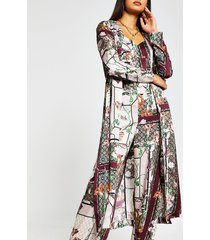 river island womens pink scarf printed duster jacket