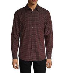 gingham-print cotton shirt