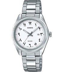 reloj analógico hombre casio mtp-1302d7b3 - plateado con blanco