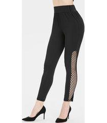 high waisted fishnet panel 7/8 leggings