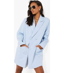 oversized boxy blazer jurk, pastel blue