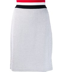 thom browne rwb waistband seersucker skirt - grey