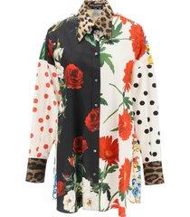 dolce & gabbana patchwork poplin shirt