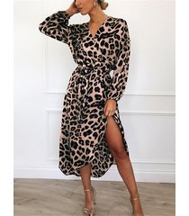 khaki leopard v-neck tie-up design wrap dress