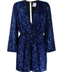 in the mood for love bree plunge-neck sequin playsuit - blue