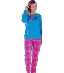 pijama feminino victory inverno frio longo malha fria - feminino