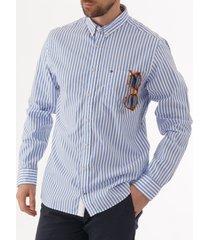 tommy hilfiger striped oxford shirt - regatta mx0mw09891
