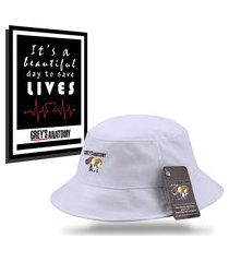 kit chapéu bucket unissex com quadro personalizados grey's anatomy - branco