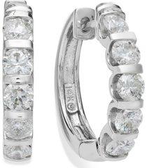 14k white gold diamond hoop earrings (2 ct. t.w.)