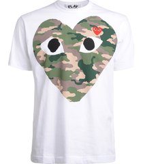 playwhite t-shirt with camouflage heart
