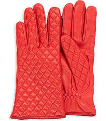 portolano women's quilted leather gloves - red - size 6.5