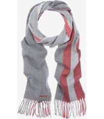 solid stripe wool mix scarf grey 1