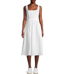 stellah women's shirred-back midi dress - white - size s
