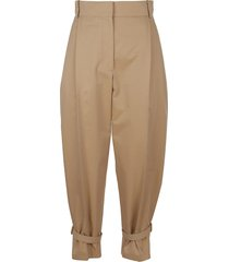 alexander mcqueen wide fit belted cuff trousers