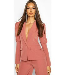 puff sleeve tailored blazer, rose