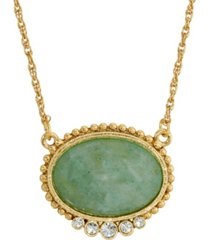 2028 gold-tone oval semi precious with crystals necklace