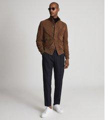 reiss angel - suede button through jacket in mocha, mens, size xxl