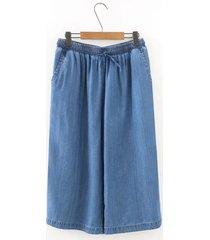 pantaloni da donna a vita alta con elastico in vita