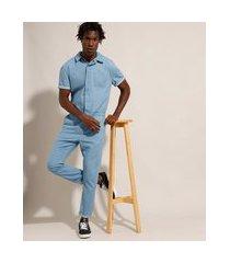 macacão jeans manga curta azul claro