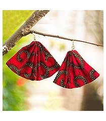 cotton dangle earrings, 'red afiba' (ghana)