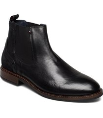elevated leather mix chelsea shoes chelsea boots svart tommy hilfiger