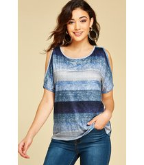 blue stripes cold shoulder short sleeves tee