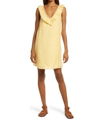faherty brand ellis ruffle linen shift dress, size medium in jojoba at nordstrom