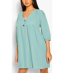 horn button through smock dress, sage