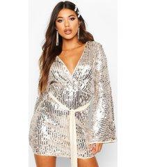 stripe sequin kimono belted bodycon dress, silver
