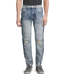 cult of individuality men's greaser slim straight-leg distressed jeans - black fray - size 29