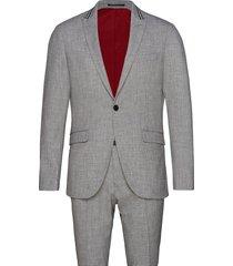 melange suit w. contrast tape kostym grå lindbergh
