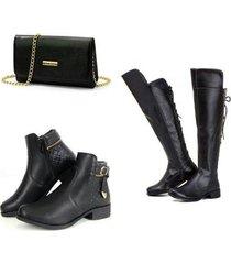 kit bota over + bota coturno + bolsa clutch feminina - feminino