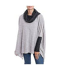 alpaca blend poncho pullover, 'beautiful warmth in dove grey' (peru)