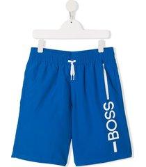 boss kidswear teen logo drawstring swim shorts - blue