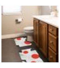jogo tapetes para banheiro 2 peças geométrico circulo moderno único