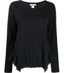twin-set suéter com babados na barra - preto