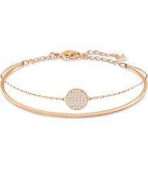 swarovski ginger gold-tone polished and pave bangle bracelet