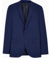 mens blue two tone skinny fit single breasted suit blazer with notch lapels