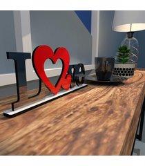 escultura de mesa love dois coraã§ãµes vermelho preto ãšnico - multicolorido - dafiti
