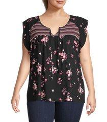sanctuary women's floral split neck top - midnight black - size 1x (14-16)
