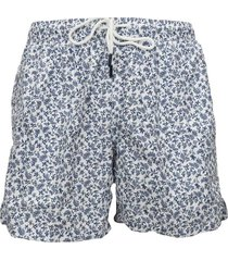 men's white boxer swimsuit with blue floral print