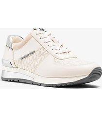 mk sneaker allie in pelle con logo - vaniglia (naturale) - michael kors