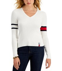 tommy jeans cotton v-neck flag-sleeve sweater